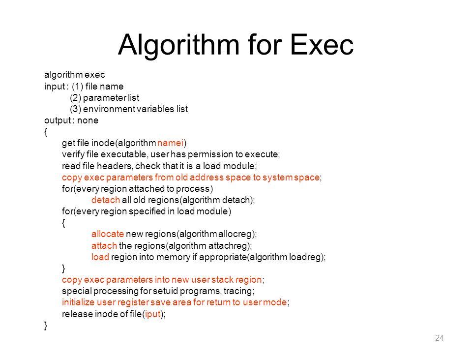 Algorithm for Exec algorithm exec input : (1) file name