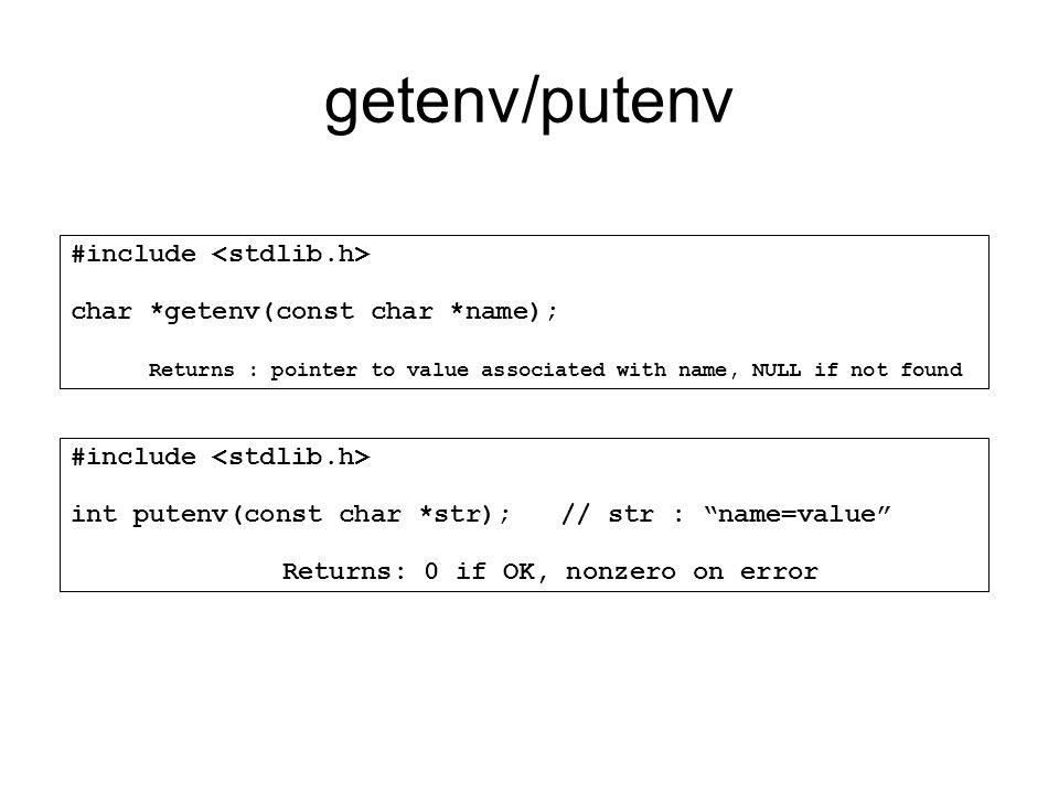 getenv/putenv #include <stdlib.h>