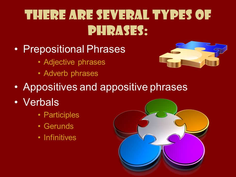 There are several types of phrases: