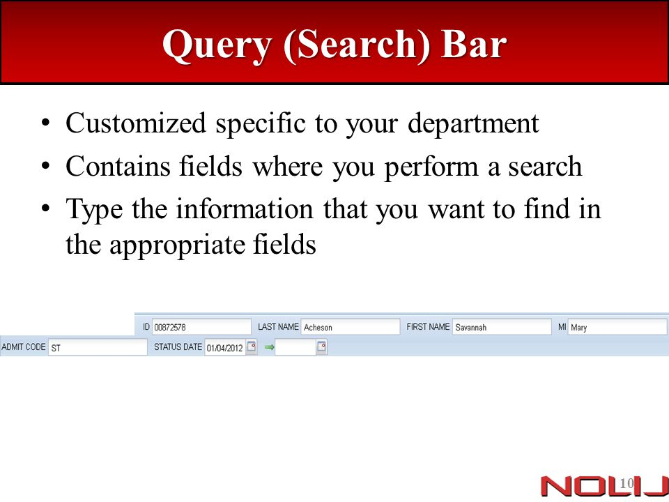 Query (Search) Bar Customized specific to your department