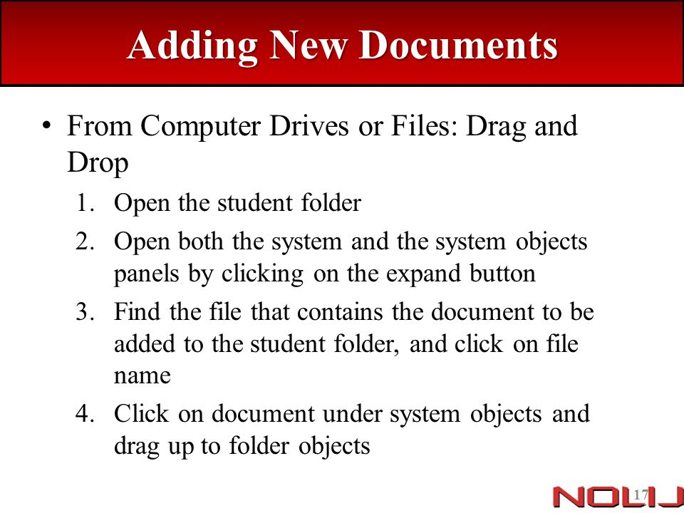 Adding New Documents From Computer Drives or Files: Drag and Drop