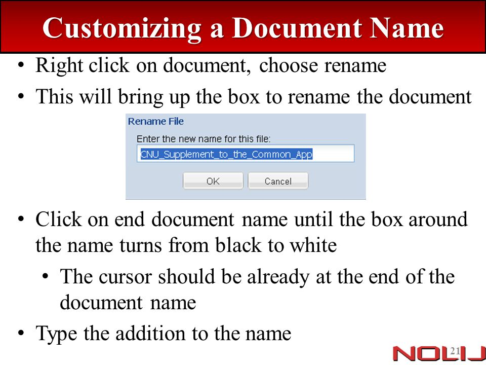 Customizing a Document Name