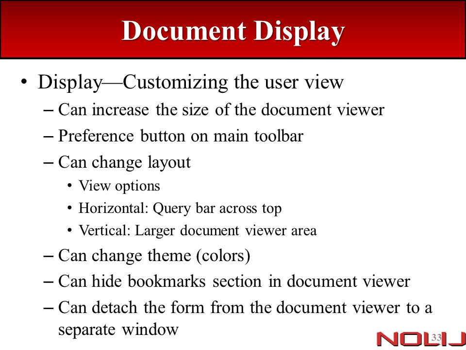 Document Display Display—Customizing the user view