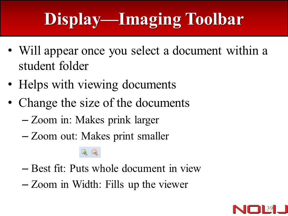 Display—Imaging Toolbar