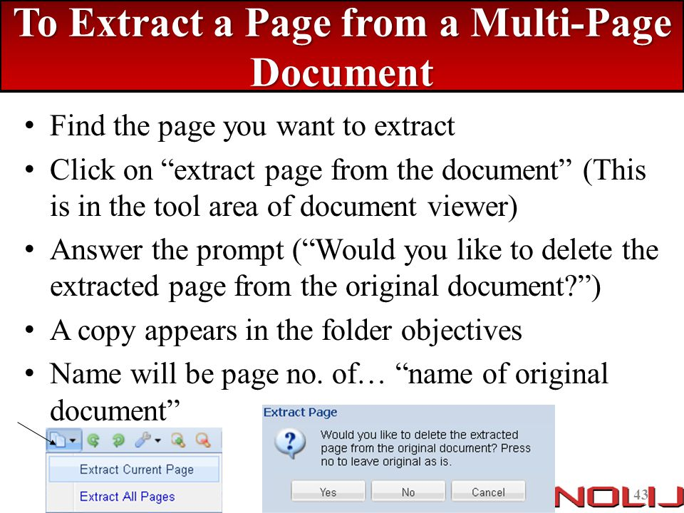 To Extract a Page from a Multi-Page Document