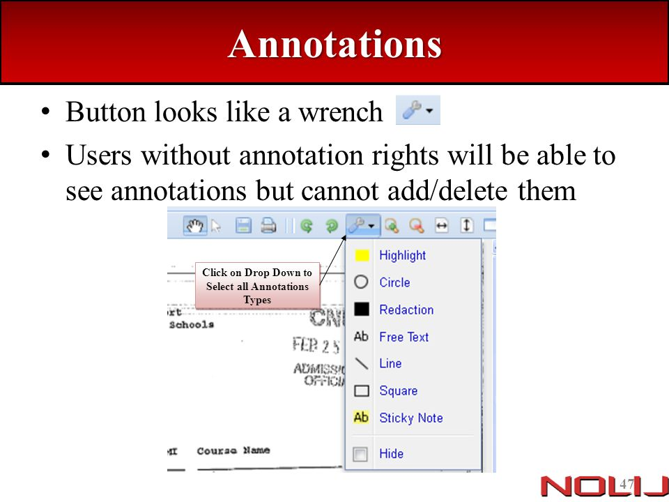 Click on Drop Down to Select all Annotations Types