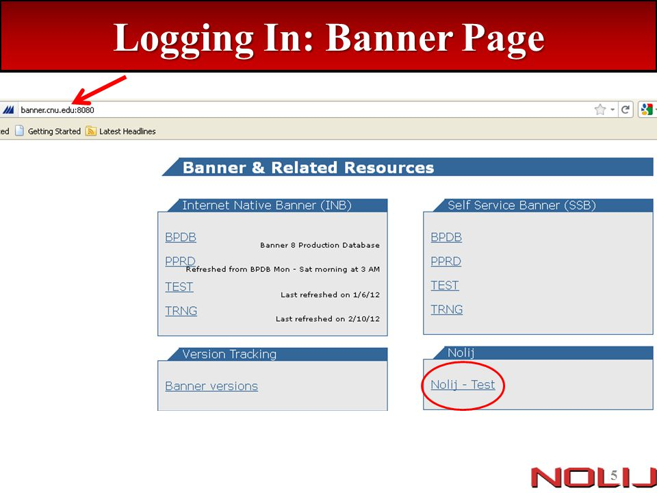 Logging In: Banner Page