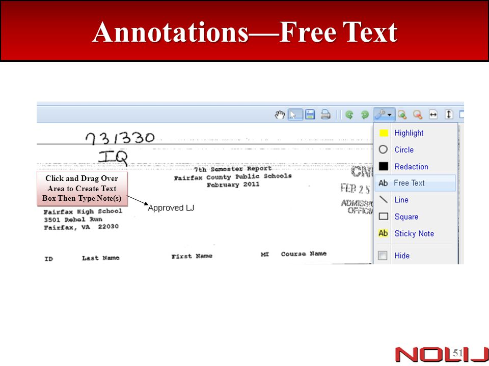 Annotations—Free Text