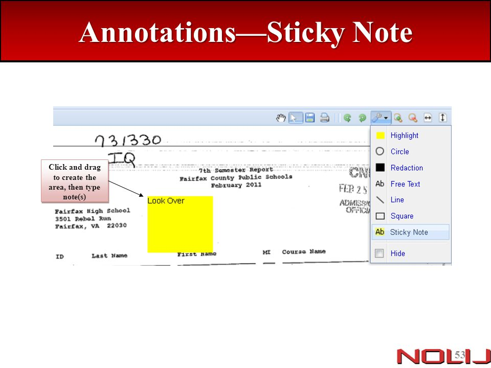 Annotations—Sticky Note