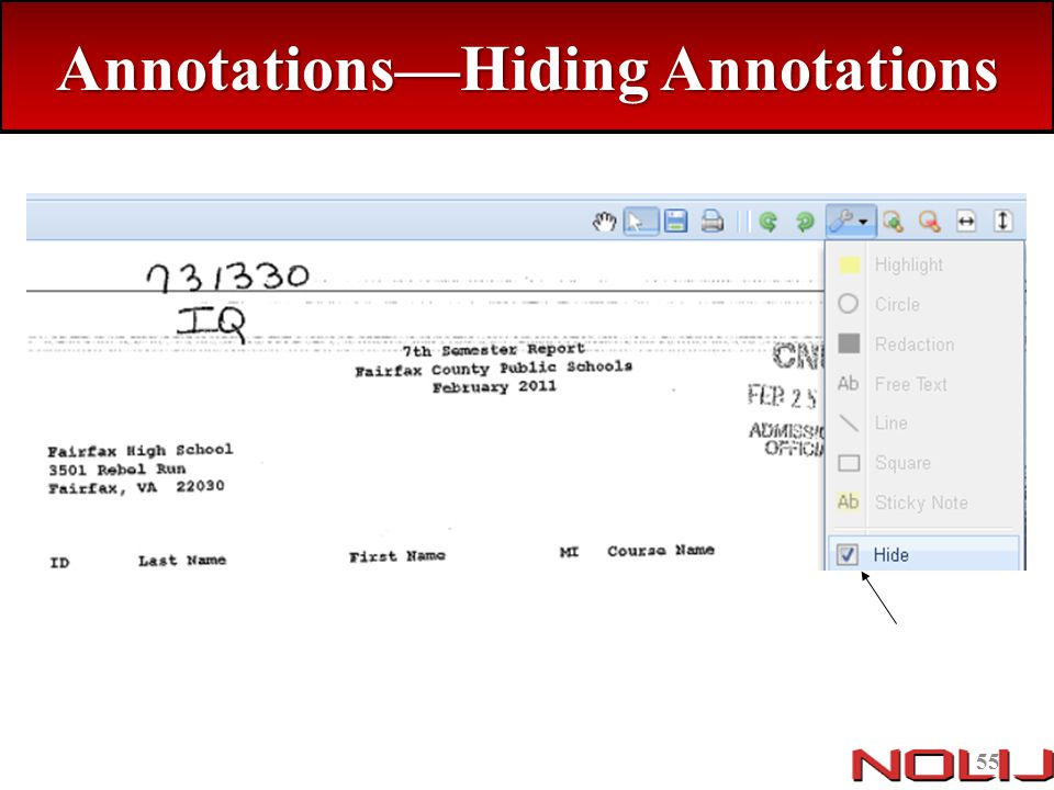 Annotations—Hiding Annotations