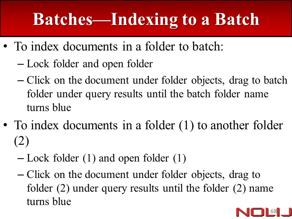 Batches—Indexing to a Batch