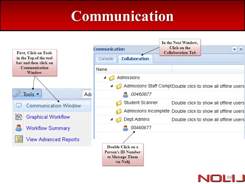 Communication In the Next Window, Click on the Collaboration Tab