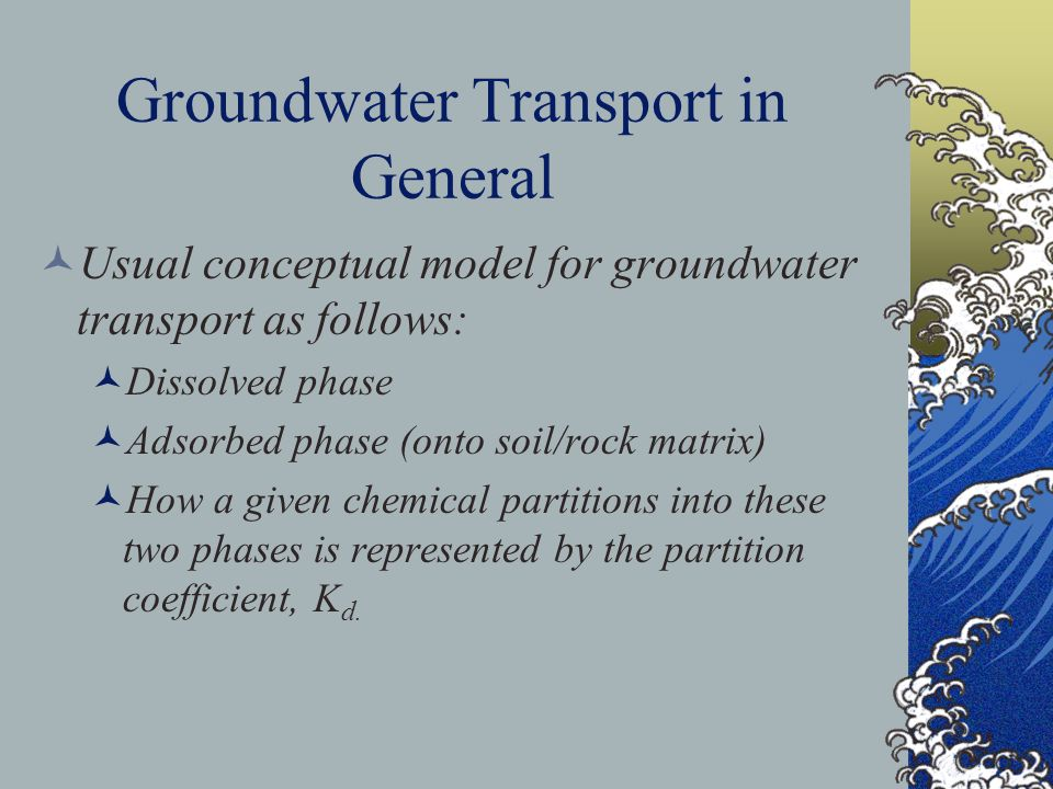 Groundwater Transport in General