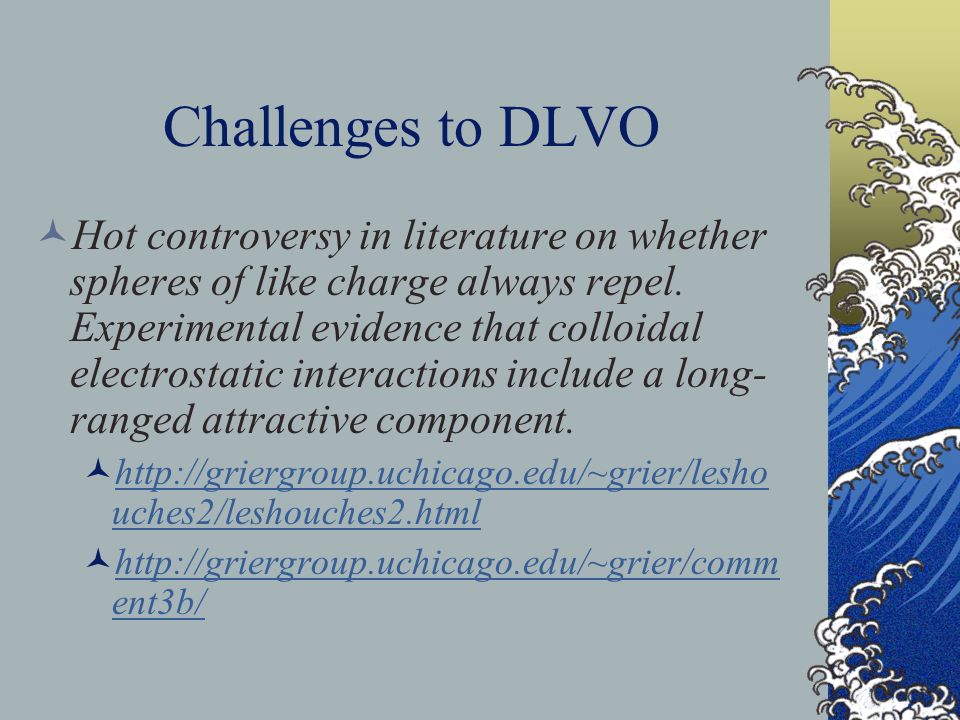 Challenges to DLVO