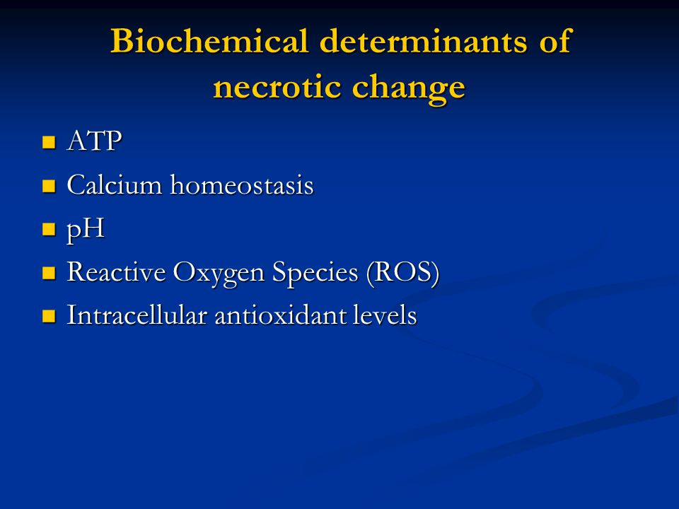 Biochemical determinants of necrotic change