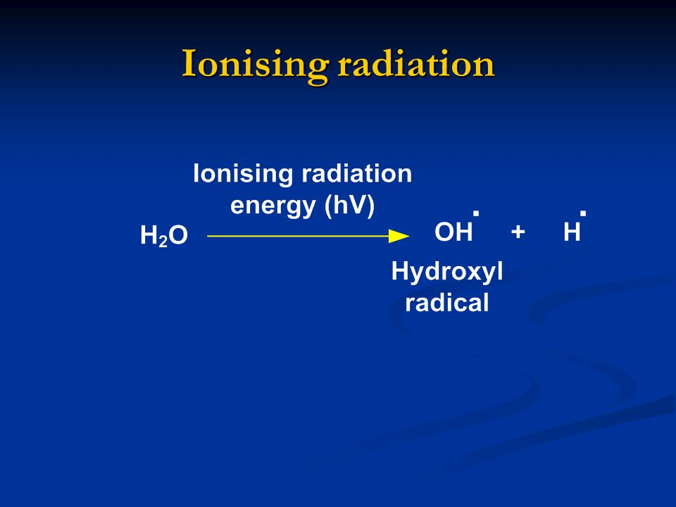 Ionising radiation 80 % of effect of IR on cells is due to FRs