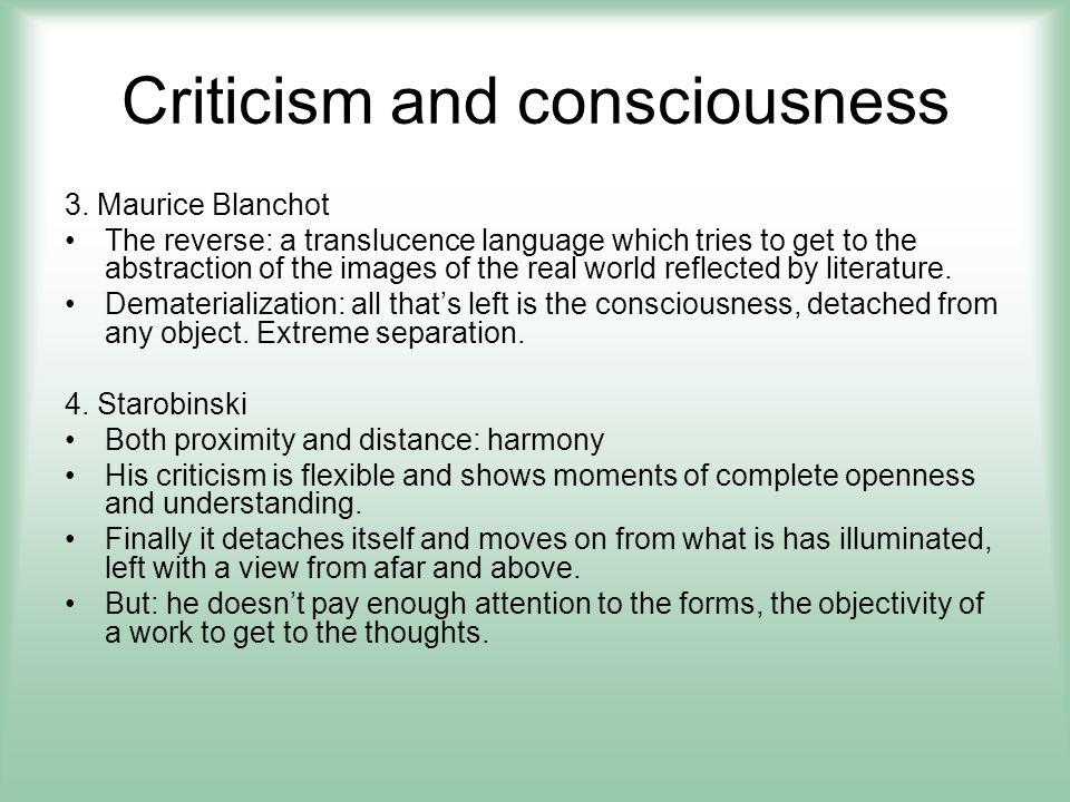Criticism and consciousness