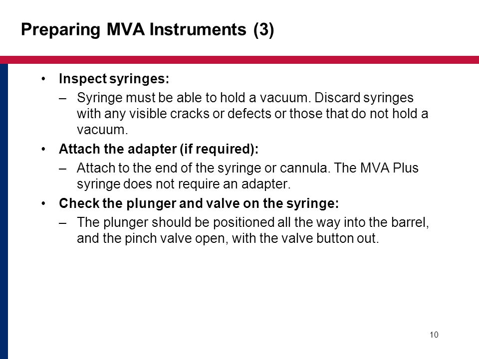 Preparing MVA Instruments (3)