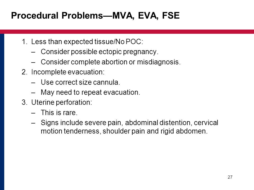 Procedural Problems—MVA, EVA, FSE