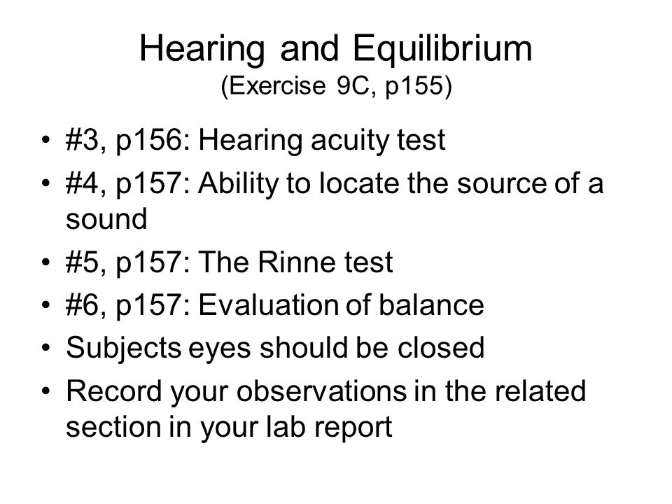Hearing and Equilibrium (Exercise 9C, p155)