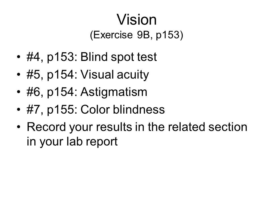 Vision (Exercise 9B, p153) #4, p153: Blind spot test