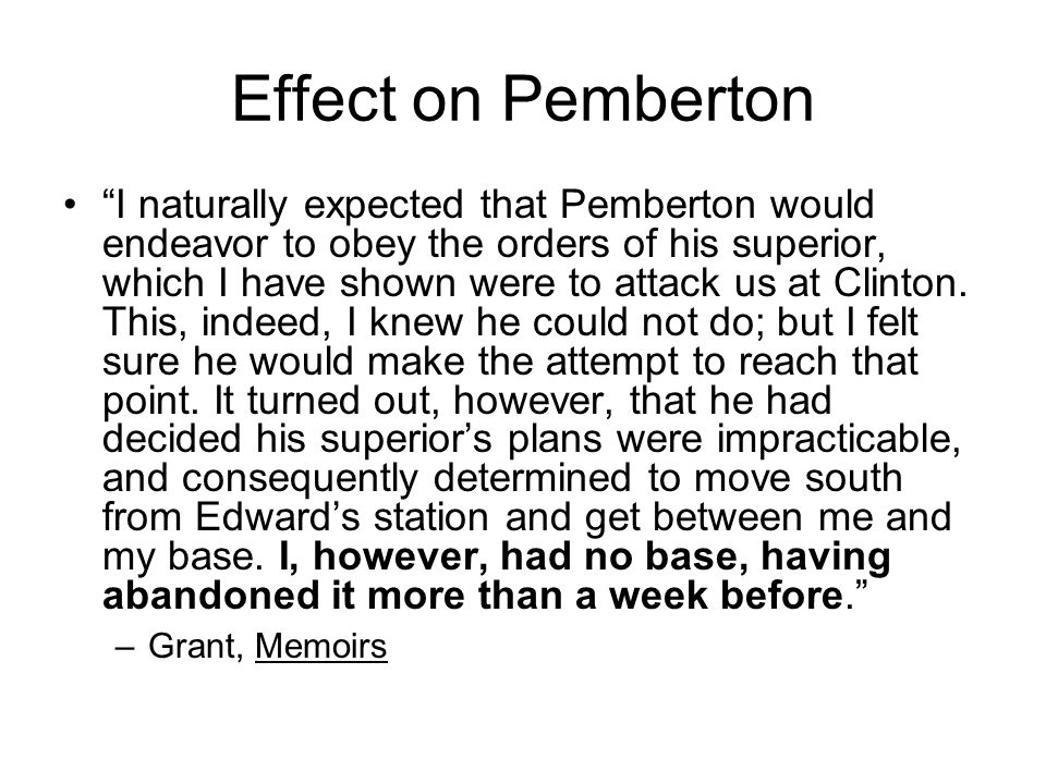 Effect on Pemberton