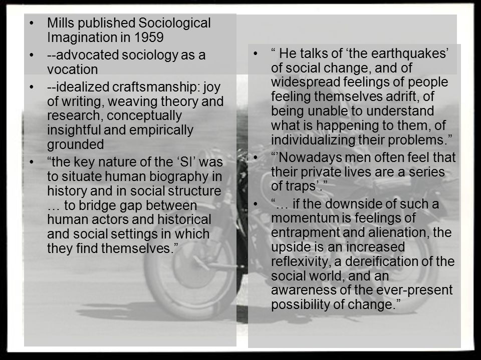 Mills published Sociological Imagination in 1959