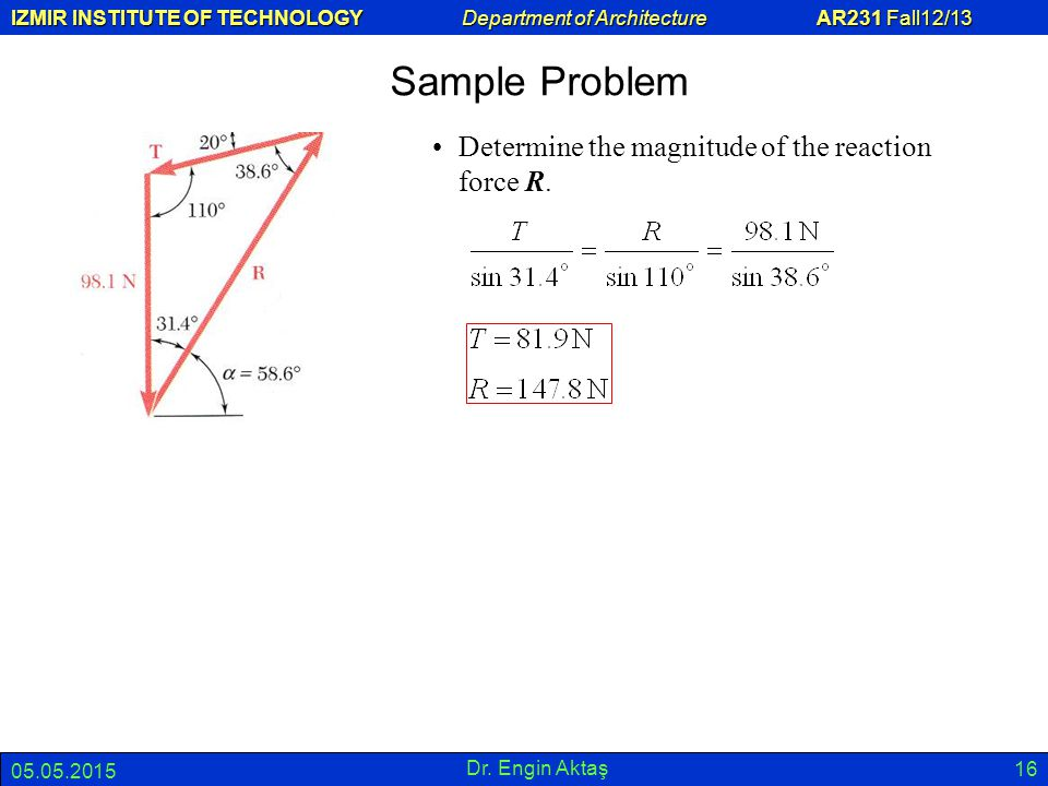 Sample Problem Determine the magnitude of the reaction force R.