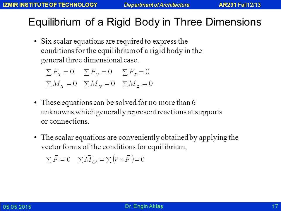 Equilibrium of a Rigid Body in Three Dimensions
