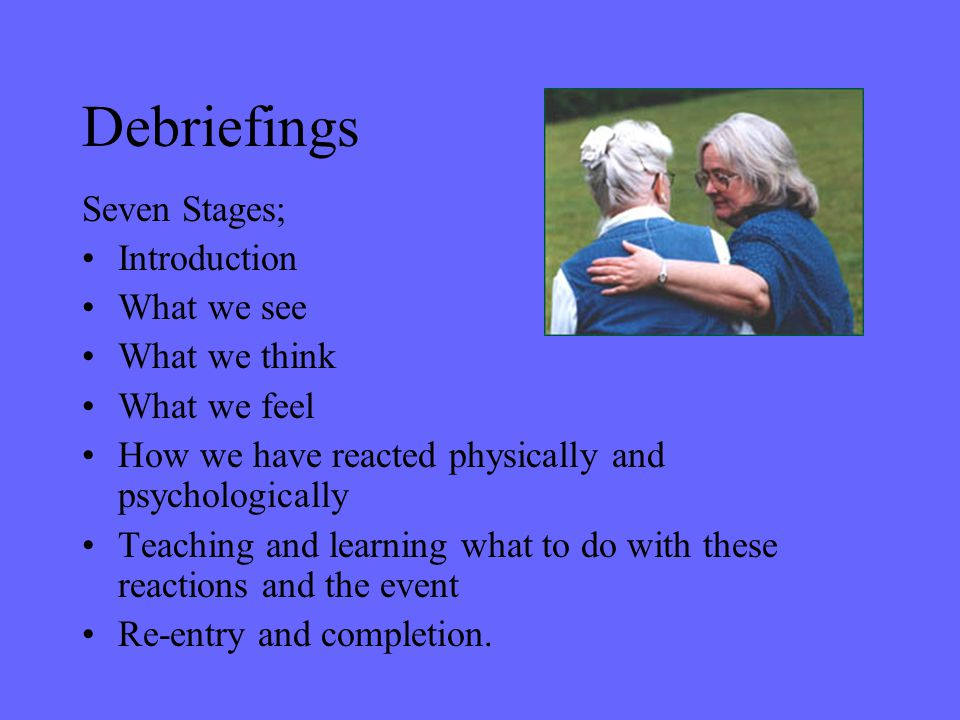 Debriefings Seven Stages; Introduction What we see What we think