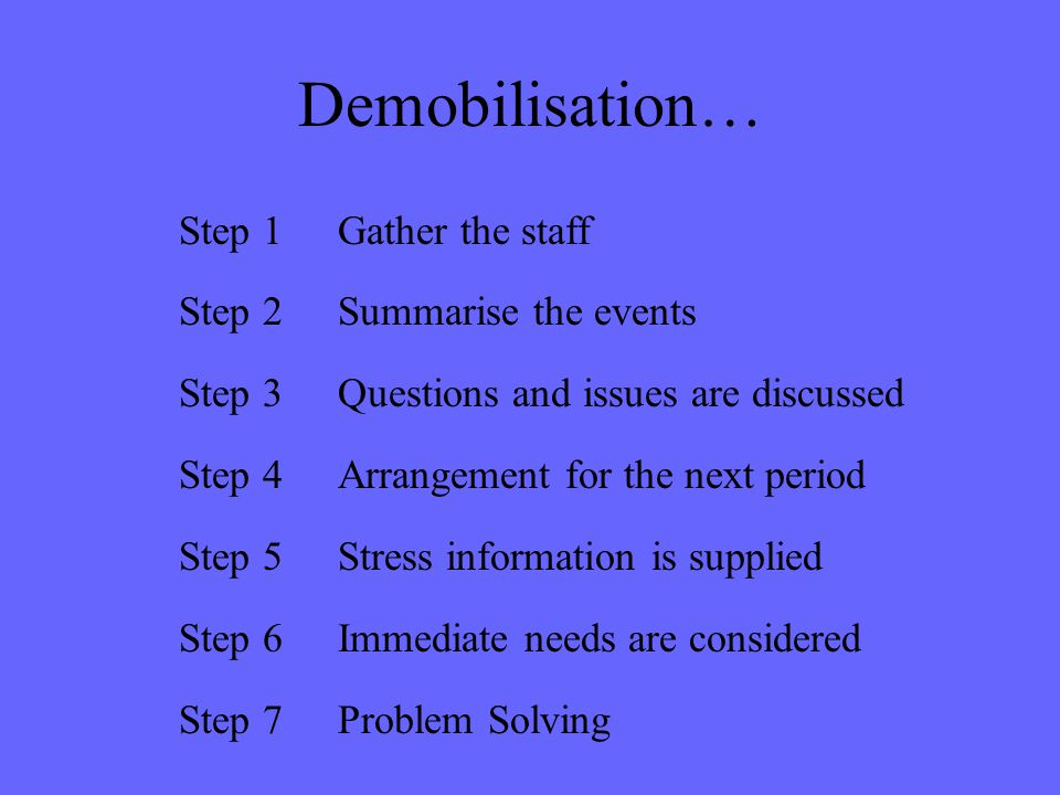 Demobilisation… Step 1 Gather the staff Step 2 Summarise the events