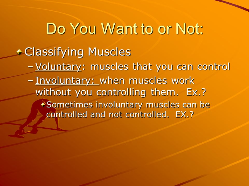 Do You Want to or Not: Classifying Muscles