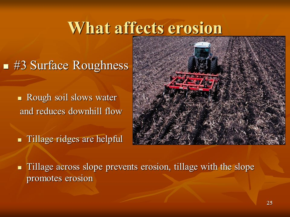 What affects erosion #3 Surface Roughness Rough soil slows water