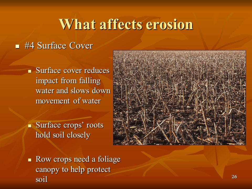 What affects erosion #4 Surface Cover