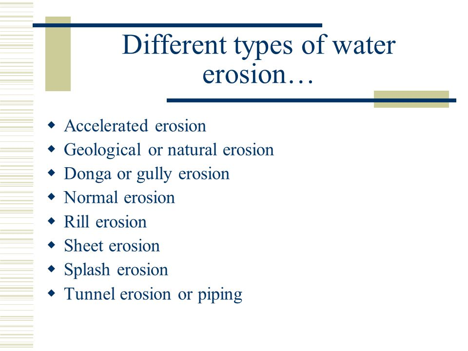 Different types of water erosion…
