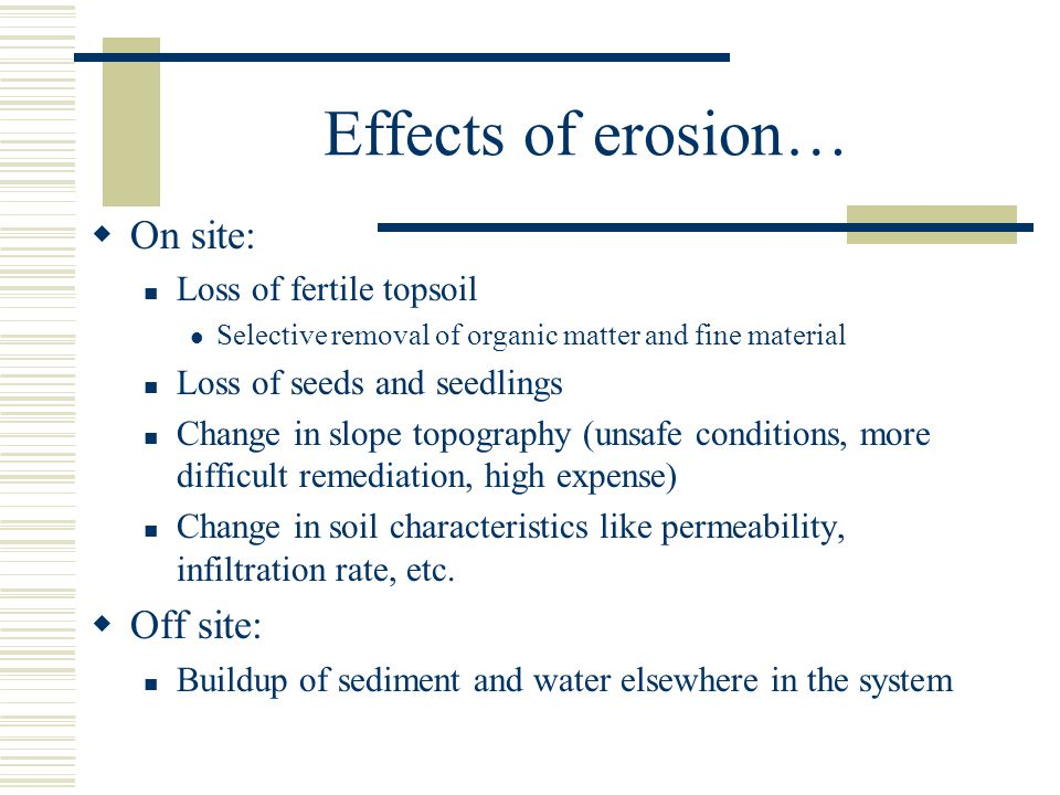 Effects of erosion… On site: Off site: Loss of fertile topsoil