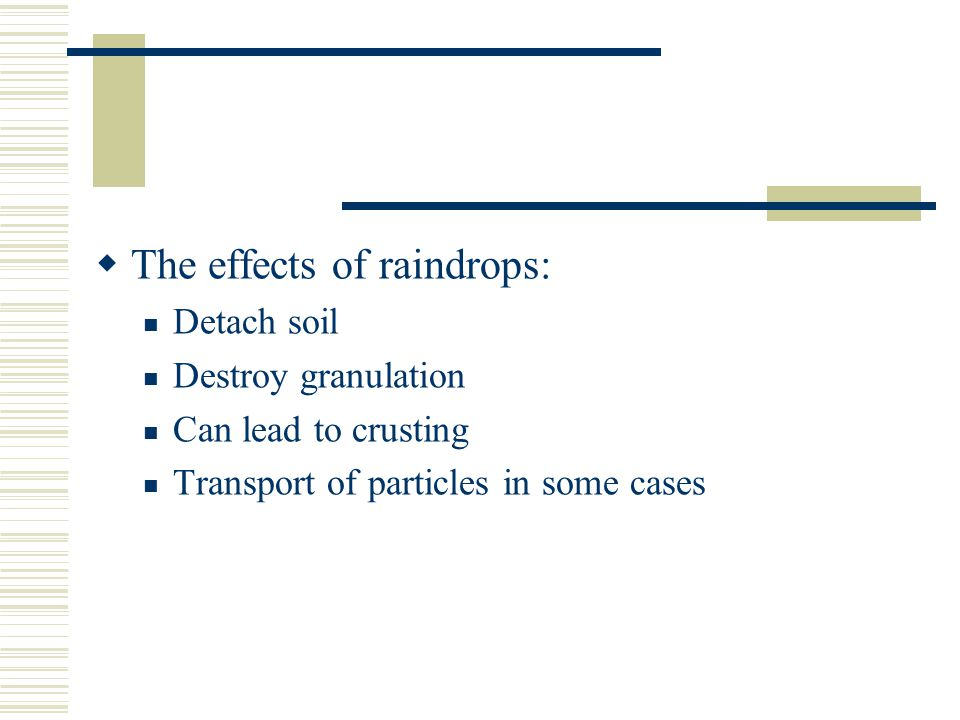 The effects of raindrops: