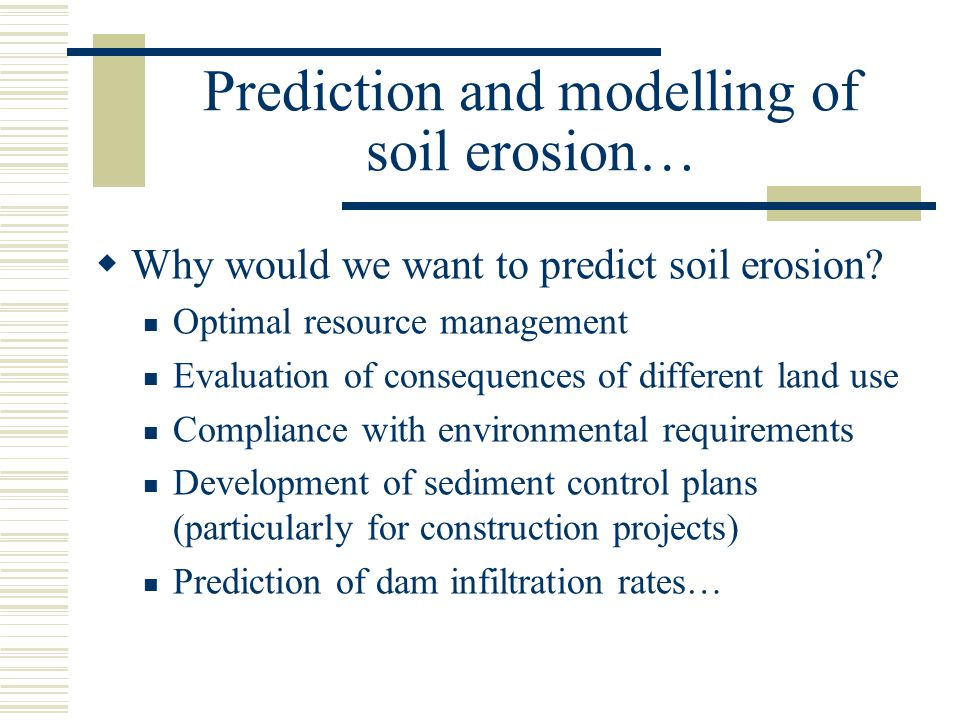 Prediction and modelling of soil erosion…