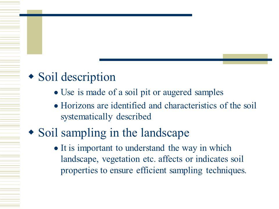 Soil sampling in the landscape