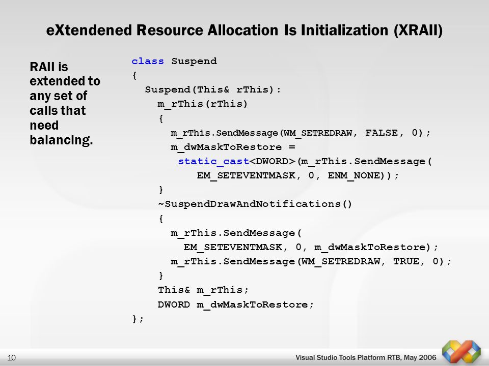 eXtendened Resource Allocation Is Initialization (XRAII)