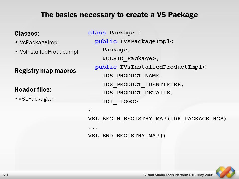 The basics necessary to create a VS Package