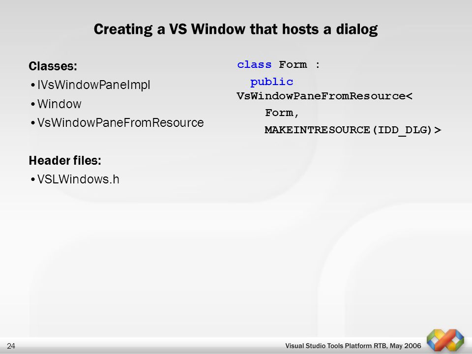 Creating a VS Window that hosts a dialog