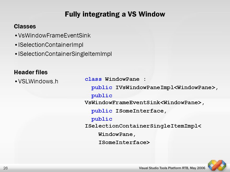 Fully integrating a VS Window