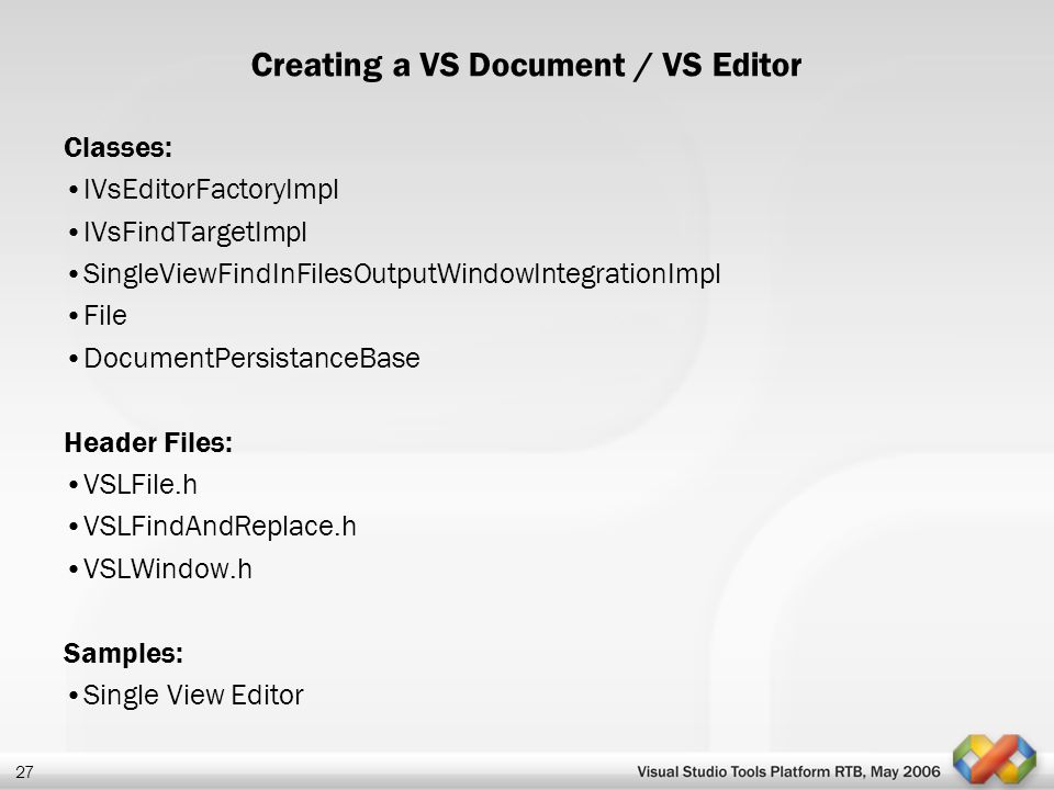 Creating a VS Document / VS Editor