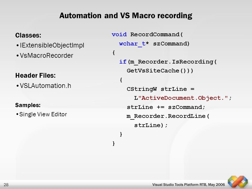 Automation and VS Macro recording