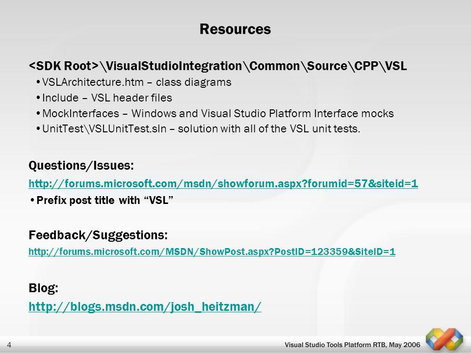Resources <SDK Root>\VisualStudioIntegration\Common\Source\CPP\VSL. VSLArchitecture.htm – class diagrams.