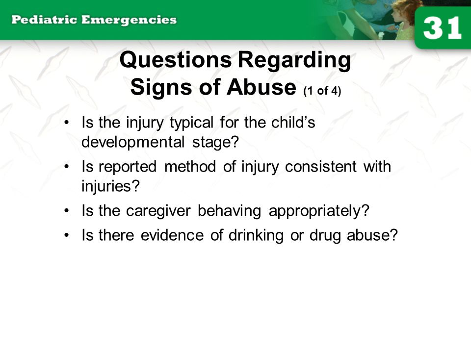 Questions Regarding Signs of Abuse (1 of 4)