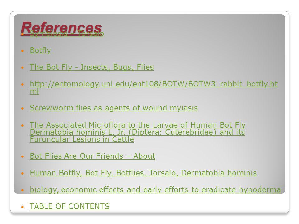 References Symbiosis – Torsalo Botfly