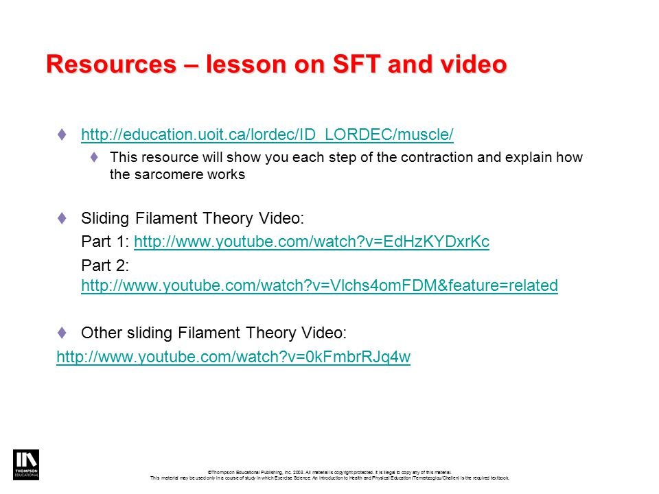 Resources – lesson on SFT and video