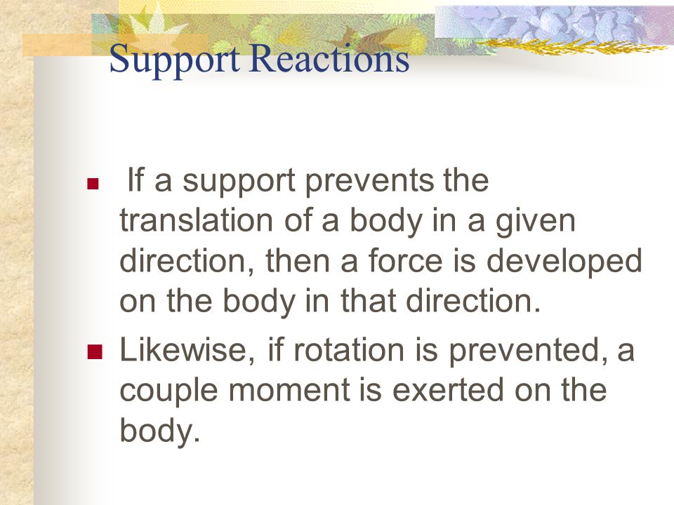 Support Reactions If a support prevents the translation of a body in a given direction, then a force is developed on the body in that direction.
